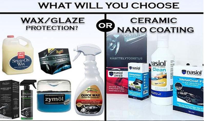 Imagen comparativa de productos con base a ceras contra los productos de nano protección marca Nasiol
