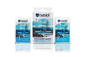 Paquete de Nasiol Glasshield Wipe On en 1 caja y 2 sobres